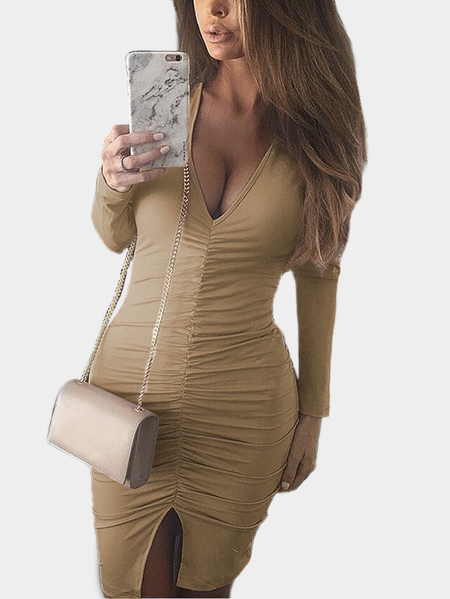 Khaki Pleated Design Deep V-Neck Bodycon Mini Dresses