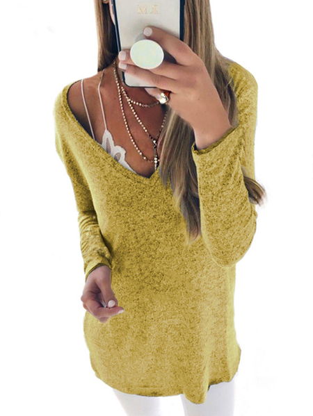 Yellow Plunge V-neck Long Sleeves T-shirt