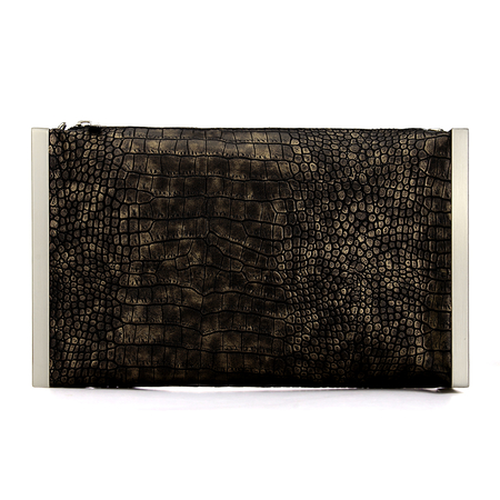 Fantastic Snake Effect Clutch Bag with Silver-tone Hardware