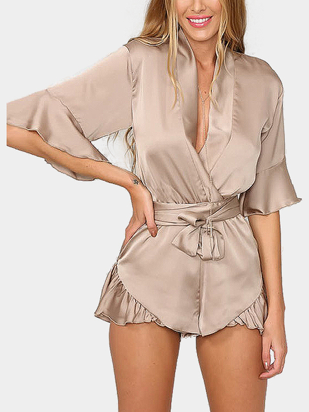 Khaki V-neck Playsuit with 1/2 Length Sleeves