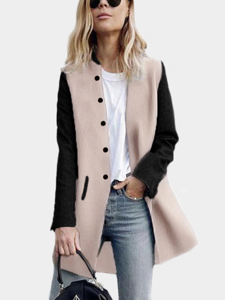 Khaki Patchwork Color Black Long Sleeves Trench Coat