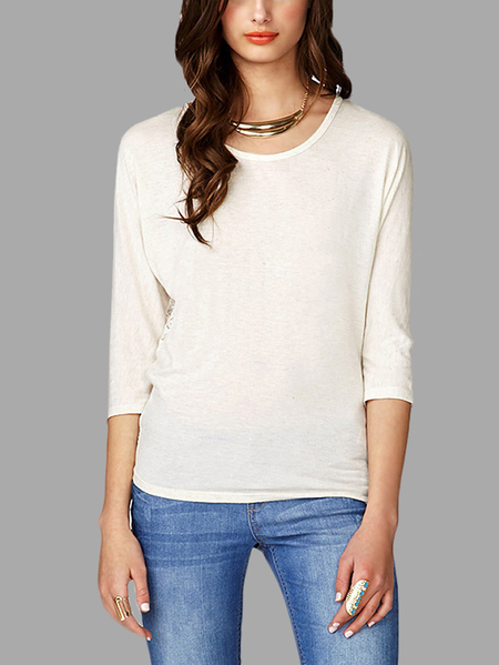 White Lace Details at Back T-shirt with 3/4 Length Sleeves