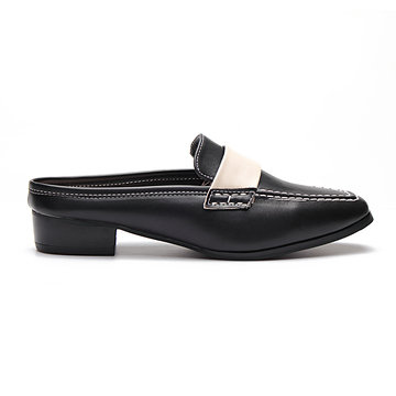Black Leather Look Contrast Square Toe Heeled Loafers