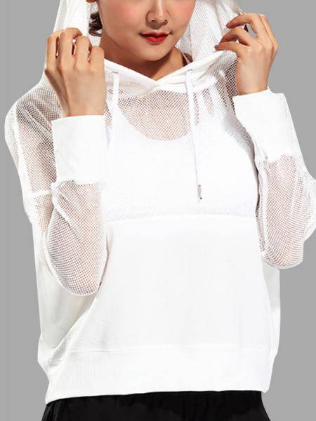 Active Cut Out Net Yarn Long Sleeve Tops in White