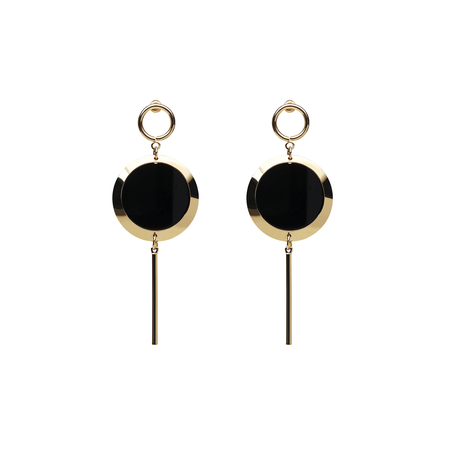 Gold Circle Long Drop Earrings