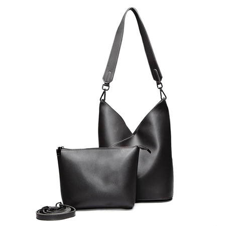 Black Simple V Design Shoulder Bag with Small Bag