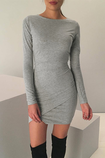 Light Grey Bodycon Fit Front Wrapped Mini Dress