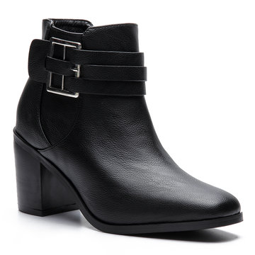 Black Buckle Design Chunky Heels Short Boots