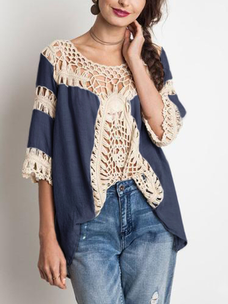 Navy Hollow Design Round Neck 3/4 Length Sleeves T-shirt