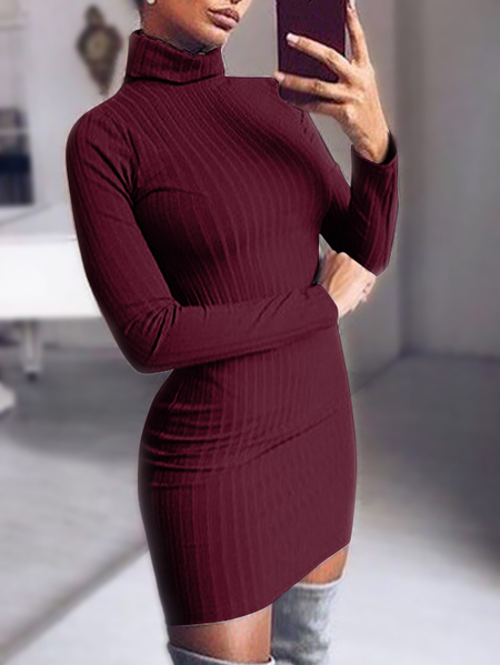 Burgundy Chimney Collar Long Sleeves Bodycon Hem Ribbed Sweater Dress