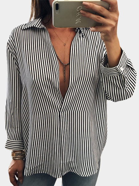 Black Stripe Pattern Deep V-Neck Long Sleeves Blouses