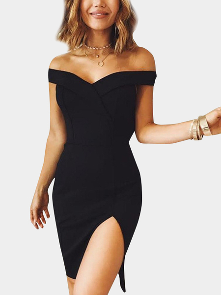 Black Off The Shoulder Splited Hem Party Dresses