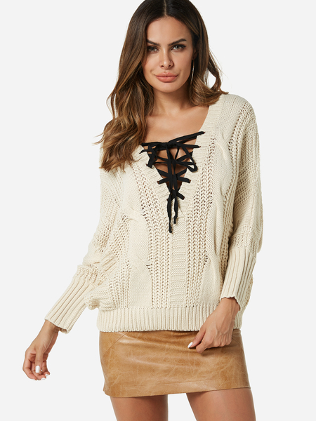 Beige Cable Knit Plain V-neck Long Sleeves Sweaters