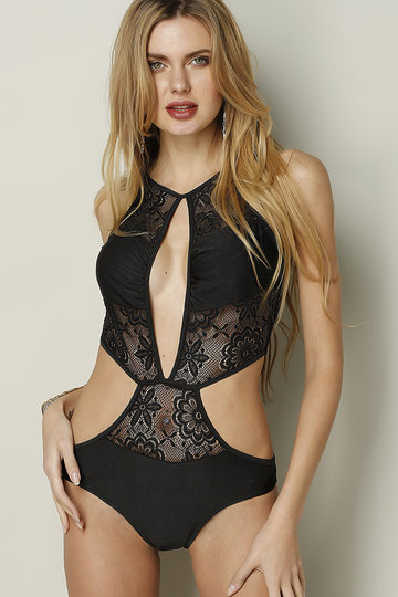 Lace Insert Cut Out Swimsuit in Black