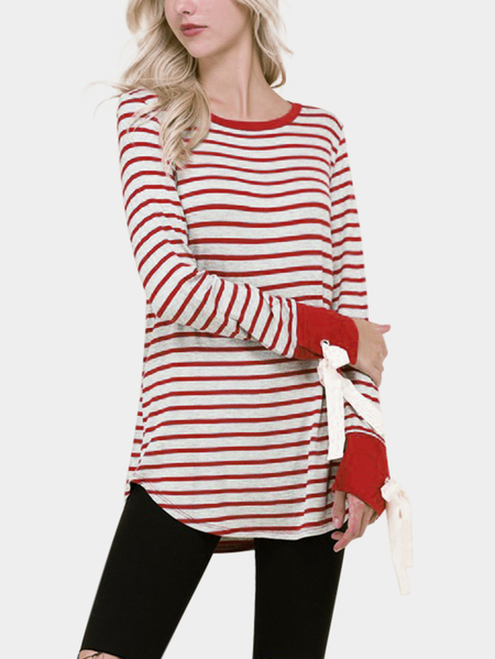 Multi Lace-up Design Stripe Round Neck Long Sleeves T-shirts