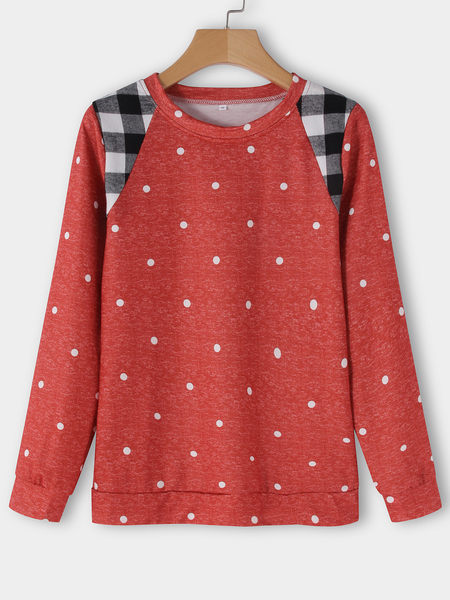 Red Wave Point Panel Round Neck Long Sleeves T-shirt