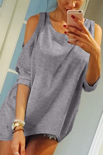 Grey Round Neck Cold Shoulder Tee