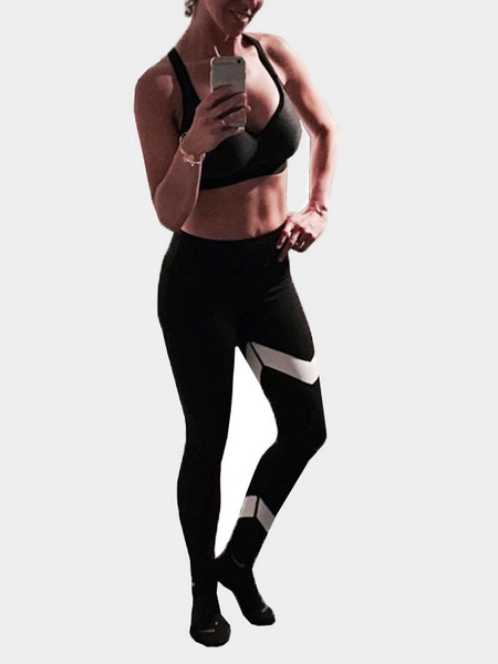 Casual Bodycon Asymmetrical Stripe Sports Leggings in Black