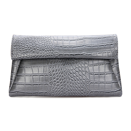 Bolso de embrague con doble pliegue en relieve de cuero Croc en gris