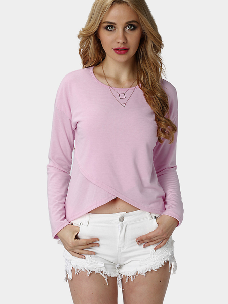 Pink Casual Layered Irregular Top