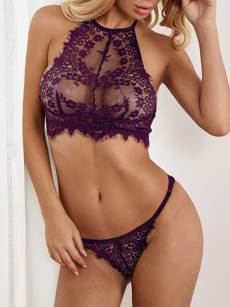 Purple-red Sexy Delicate See-though Eyelash Trim Halter Lingerie Set without Stockings