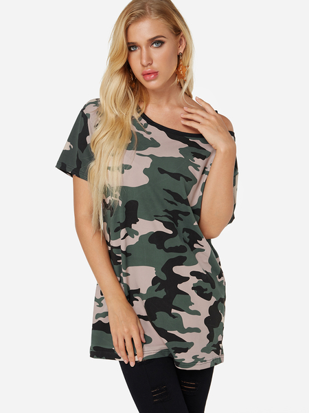 Army Green Camouflage Asymmetrical One Shoulder Short Sleeves T-shirt