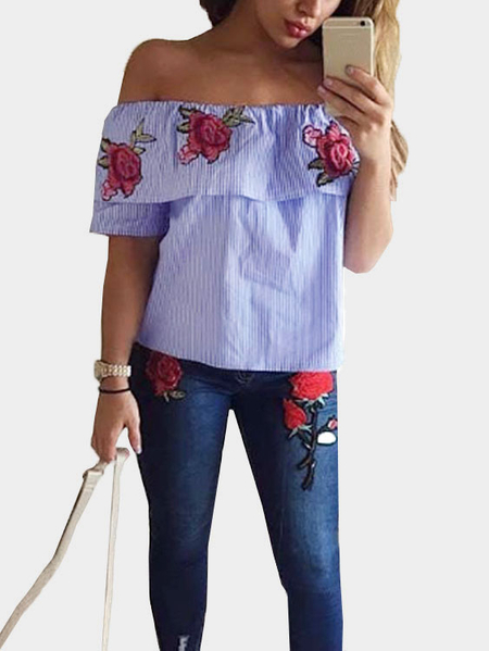 Blue Off-The-Shoulder Random Floral Embroidered Stripe Top