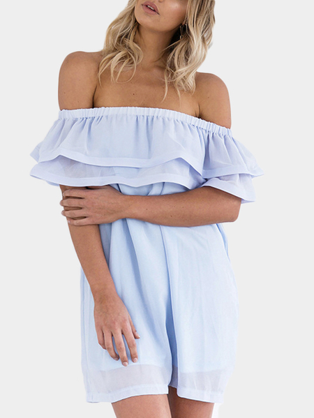 Sexy Chiffon Off-The-Shoulder Tiered Dress in Blue