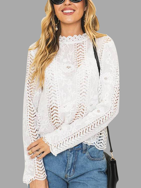 White Hollow Details Lace Blouses