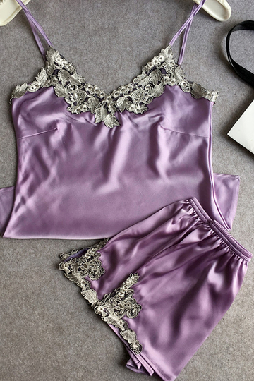 Medium Purple Pajamas Suit With Imitation Silk Material
