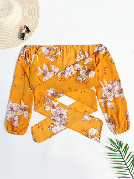 Yellow Crossed Front Design Floral Print Self-tie Waist Lantern Sleeves Blouses