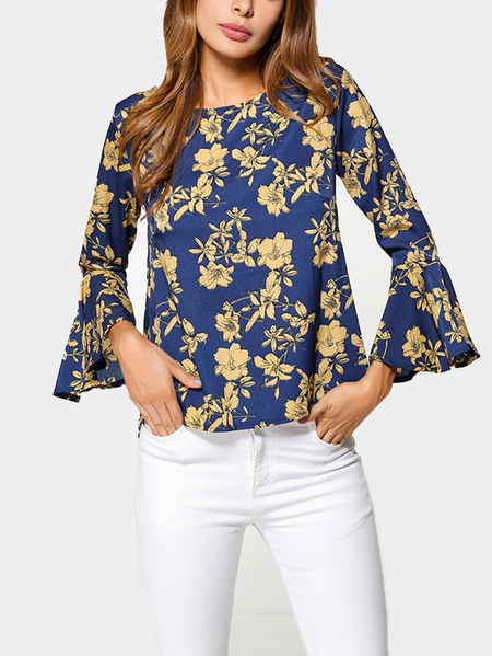 Blue Floral Print Round Neck Flared Sleeves Chiffon Blouse