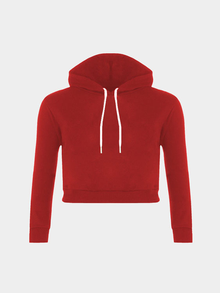 Plain Red Color Double Straps Front Hooded Crop Sweater