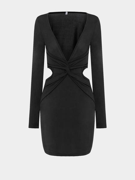 Black Plunge Neck Knot Mini Dress With Cutout Back