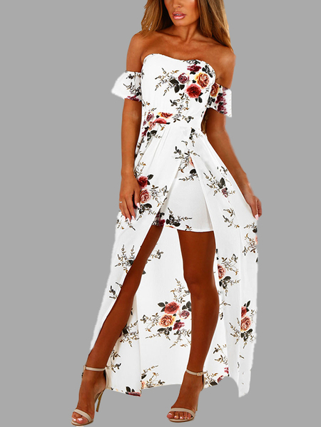 White Off Shoulder Random Floral Print Slit Dress