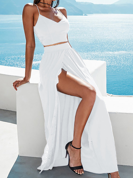 Ouverture Split with Lace Trim Maxi Jupes en blanc