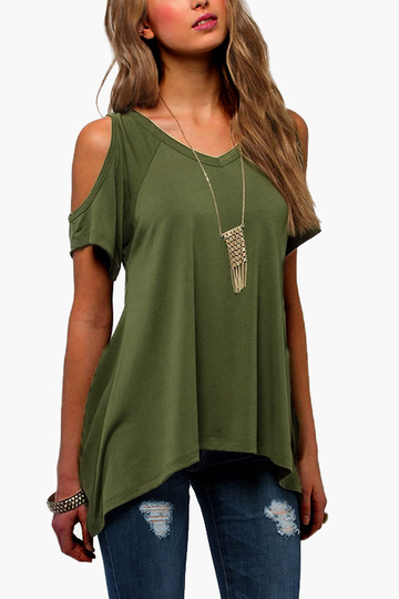 Cold Shoulder Irregular Hem T-shirts in Green