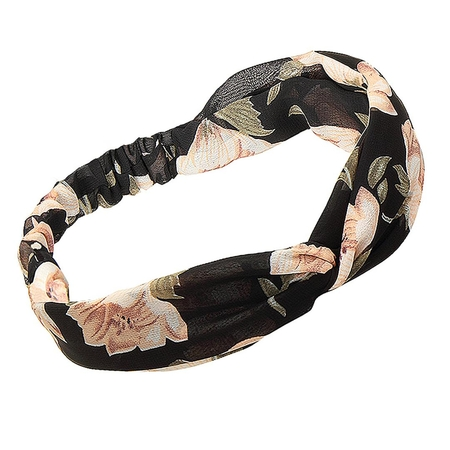 Floral Print Twisted Headband in Black