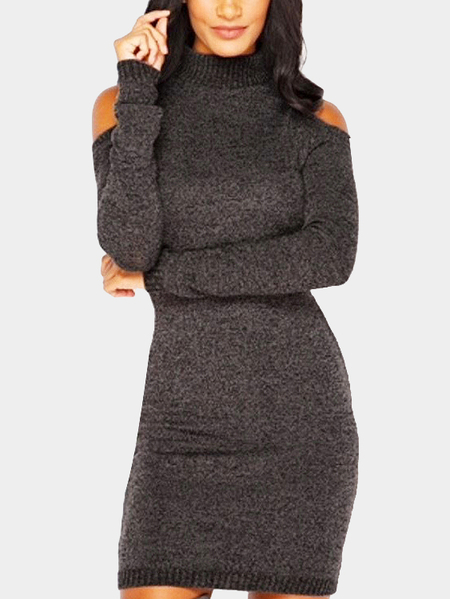 Coffee Cold Shoulder Perkins Collar Knitted Dress