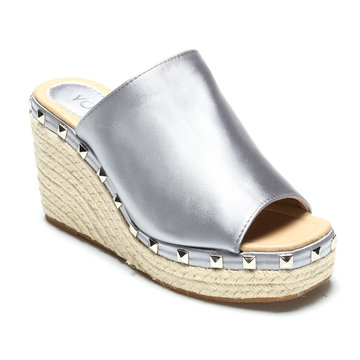 Grey Rivet Embellished Wedge Satin Slippers