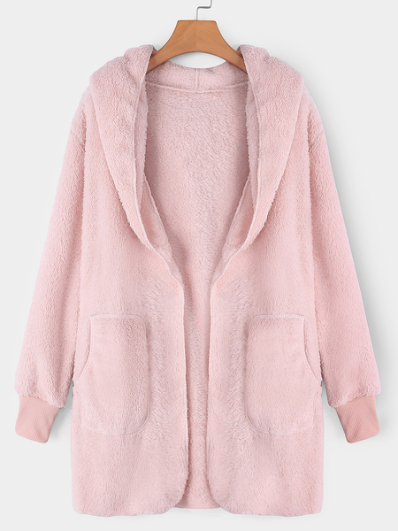 Pink Hooded Lapel Collar Long Sleeves Sweaters Coat