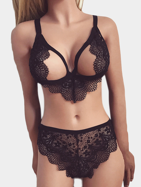 Black Cut Out Lace Lingerie Set