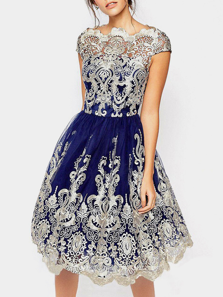 Navy Crochet Lace Hollow Big Hem Party Dresses