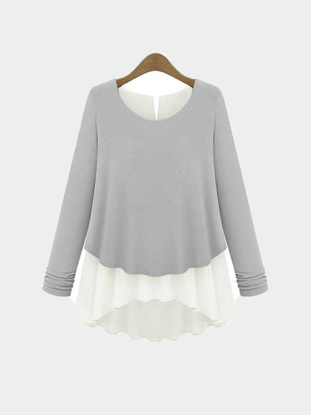 Grey Button Back Round Neck Long Sleeves Blouse