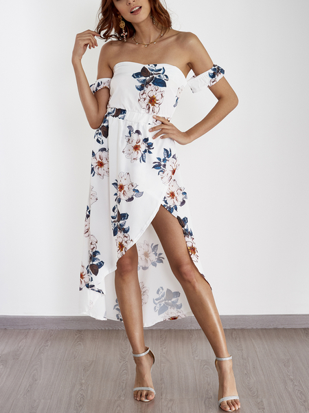 Random Floral Print Off Shoulder Splited Hem Maxi Dress in White