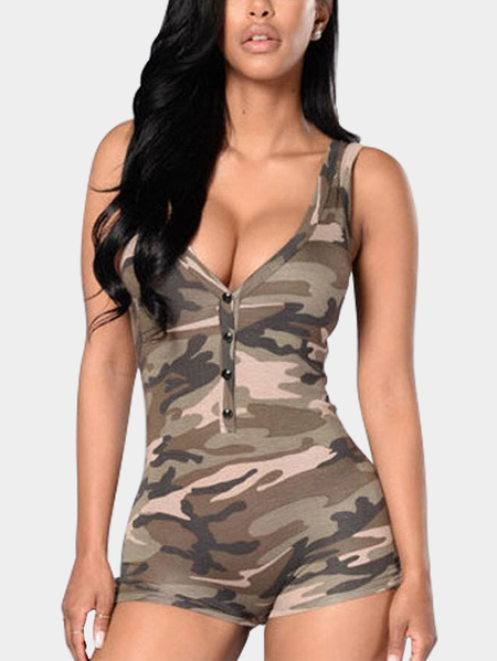 Sexy Random Camouflage Deep V-neck Playsuit