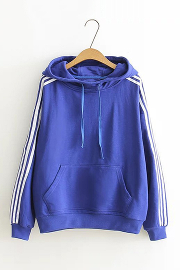 Blue Pullover Hooded Stripe Sleeves Sweatshirt