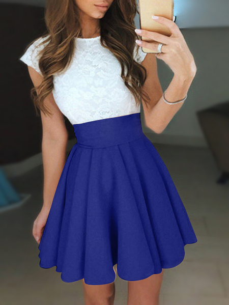 Blue Lace Patchwork Crew Neck Swing Mini Dresses
