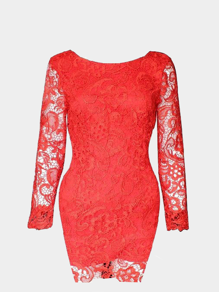 Red Backless All Over Lace Dress