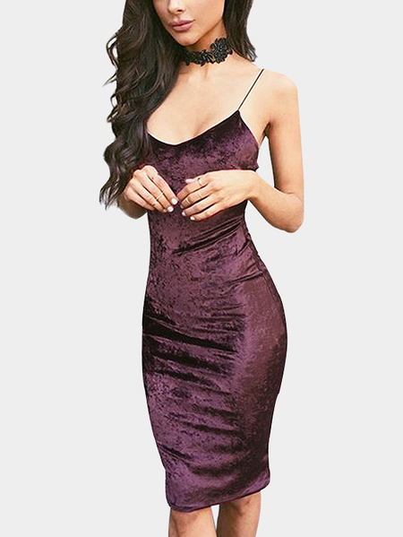 Purple Bodycon Sexy V-neck Velvet Slip Dress